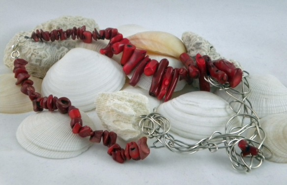Red Bamboo Coral Scribble Wire Statement Necklace by Junebug Jewelry Designs