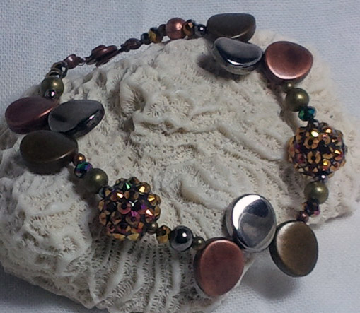 Metal Petal Bling Ball Bracelet by Junebug Jewelry Designs