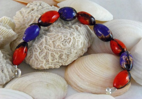 Red and Purple Tagua Bead Bracelet by Junebug Jewelry Designs