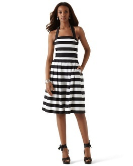 A cute black-and-white striped halter dress from White House, Black Market