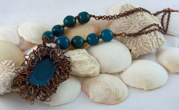 Chic Teal Agate Pendant Necklace w/ Eco-Friendly Tagua Nut Beads by Junebug Jewelry Designs