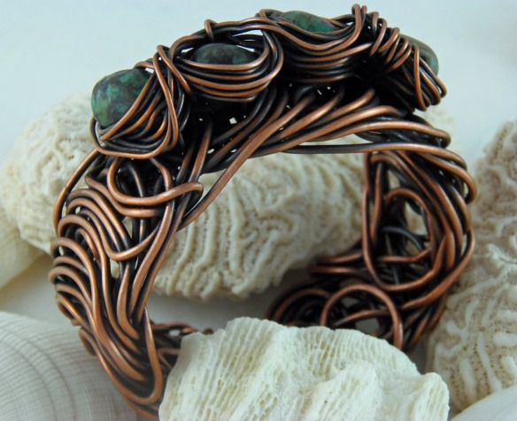 Funky Copper Wire Cuff Bracelet with African Turquoise by Junebug Jewelry Designs