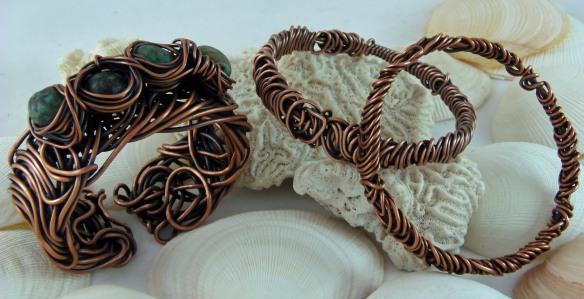 Scribble Copper Wire Bracelets by Junebug Jewelry Designs