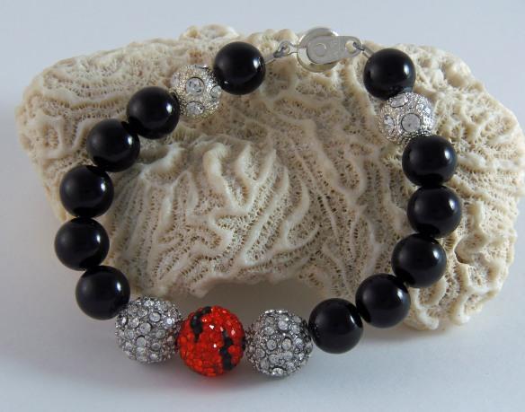 Cincinnati Bengals-Inspired Team Bling Ball Bracelet from Junebug Jewelry Designs