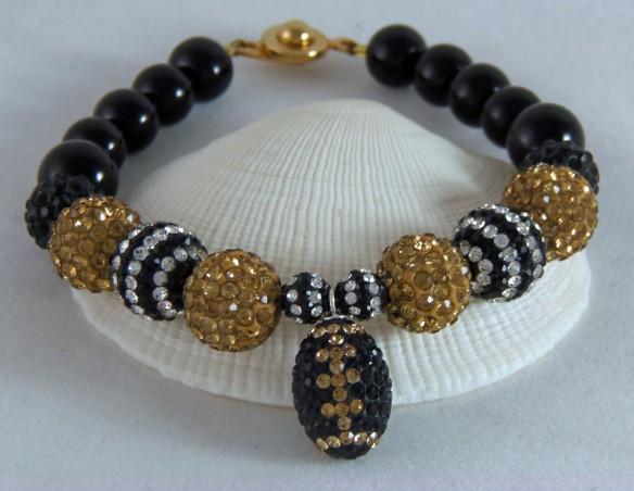 New Orleans Saints-inspired Team Bling Ball Bracelet from Junebug Jewelry Designs