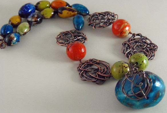 The Colorful Tagua Bead Statement Necklace from Junebug Jewelry Designs