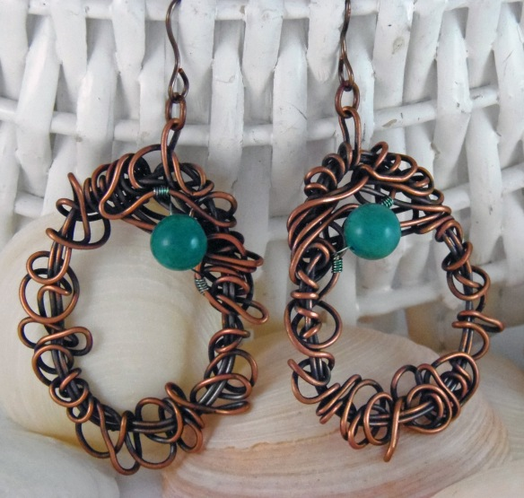 The Scribble Wire Turquoise Earrings from Junebug Jewelry Designs