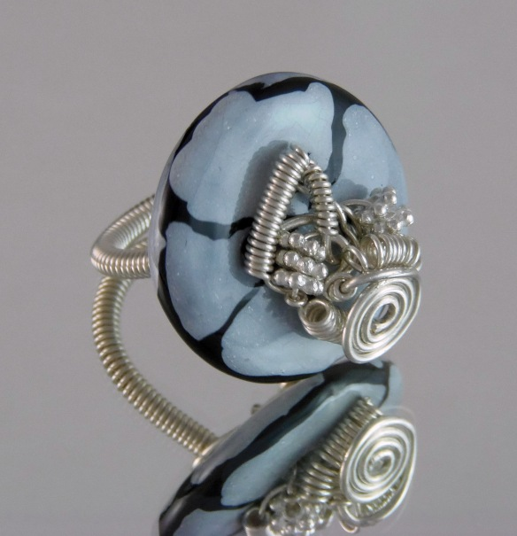 Marbled Kazuri Button Wire Wrapped Cocktail Ring by Junebug Jewelry Designs