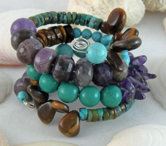 Bohemian Gemstone Memory Wire Bracelet from Junebug Jewelry Designs. Features amethyst, turquoise and tiger eye.