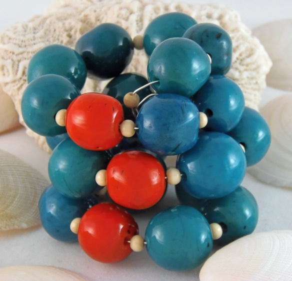 Bohemian Fair Trade Tagua Nut Memory Wire Bracelet by Junebug Jewelry Designs. Features Tagua Nut beads.