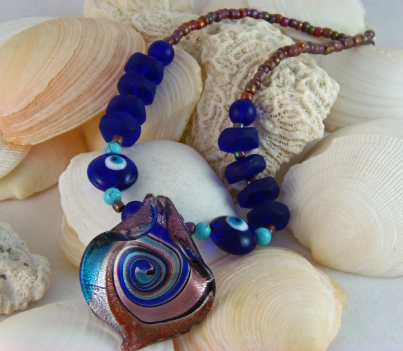 Distinctive Blue and Lavender Sea Glass Choker Necklace by Junebug Jewelry Designs