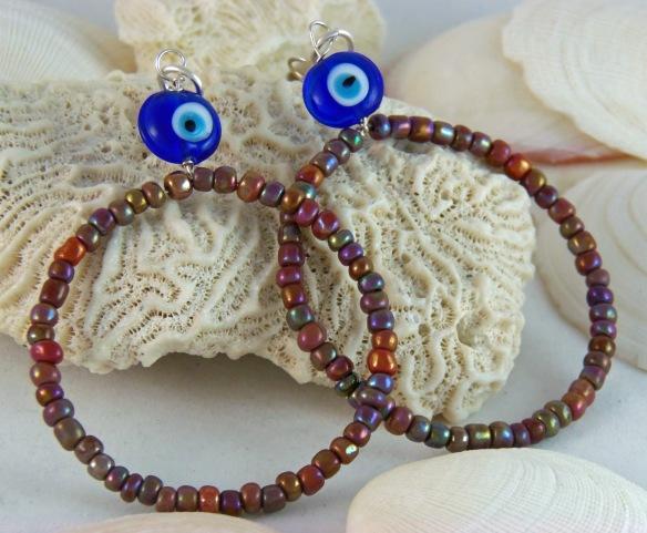 Blue and Lavender Hoop Earrings by Junebug Jewelry Designs