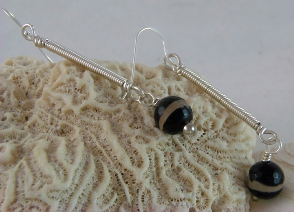 Funky Sterling Wire Wrapped Drop Earrings by Junebug Jewelry Designs