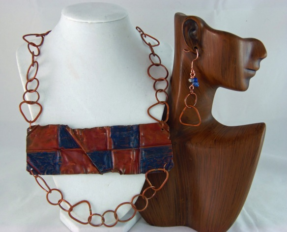 Funky Copper Bib Statement Necklace and Earring Set by Junebug Jewelry Designs
