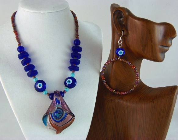Blue and Lavender Sea Glass Choker Necklace and Earring Set by Junebug Jewelry Designs