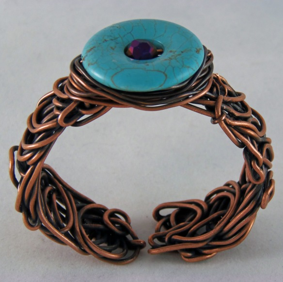 Funky Copper Cuff Bracelet by Junebug Jewelry Designs.