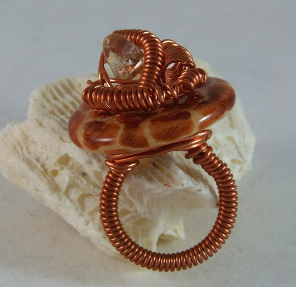 Kazuri Button, Copper and Citrine Cocktail Ring by Junebug Jewelry Designs