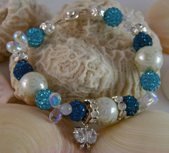 Shades of Blue & Cream Pave Bling Ball Bracelet by Junebug Jewelry Designs
