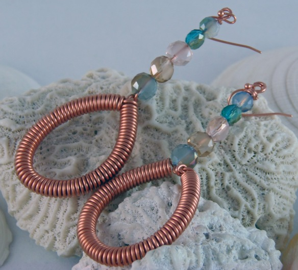 Beach Inspired Copper Dangle Earrings by Junebug Jewelry Designs