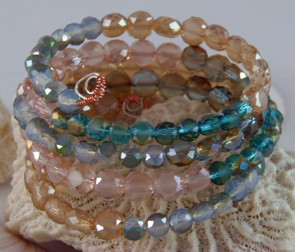 Beach Inspired Memory Wire Bracelet by Junebug Jewelry Designs