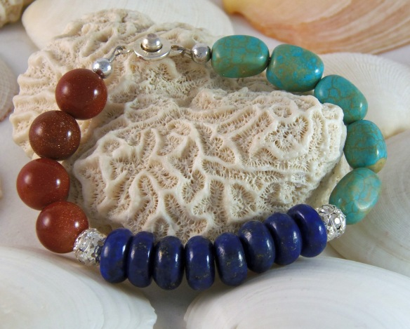Bohemian Gemstone Bracelet with Goldstone, Lapis and Turquoise by Junebug Jewelry Designs