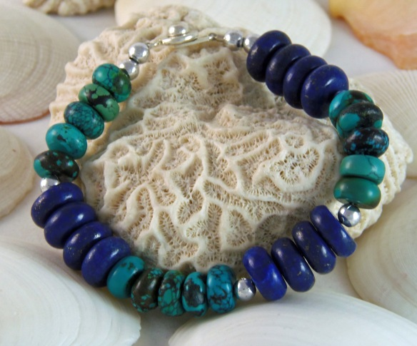 Bohemian Gemstone Bracelet with Lapis and Green Turquoise by Junebug Jewelry Designs