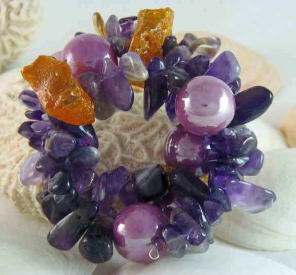Bohemian Gemstone Memory Wire Bracelet with Amber and Amethyst by Junebug Jewelry Designs