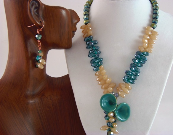 Cascading Crystal Jewelry Set by Junebug Jewelry Designs