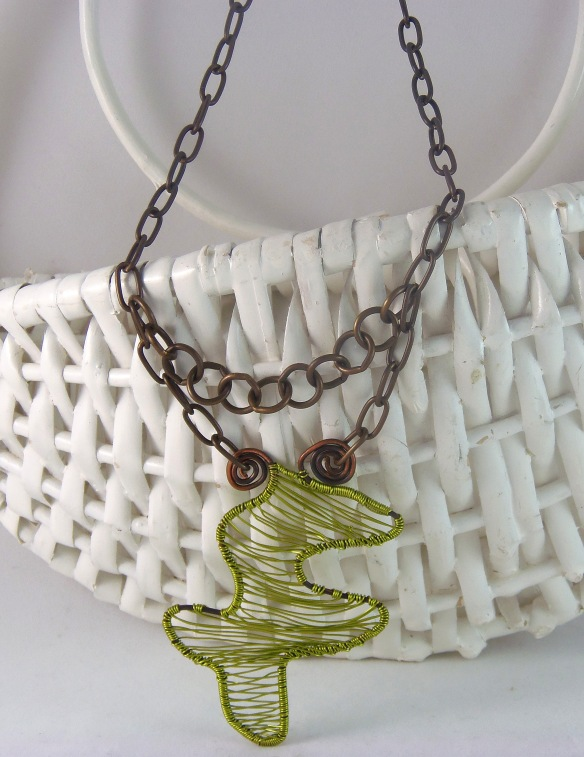 Unique Woven Wire Pendant Necklace with Vintage Vibe by Junebug Jewelry Designs