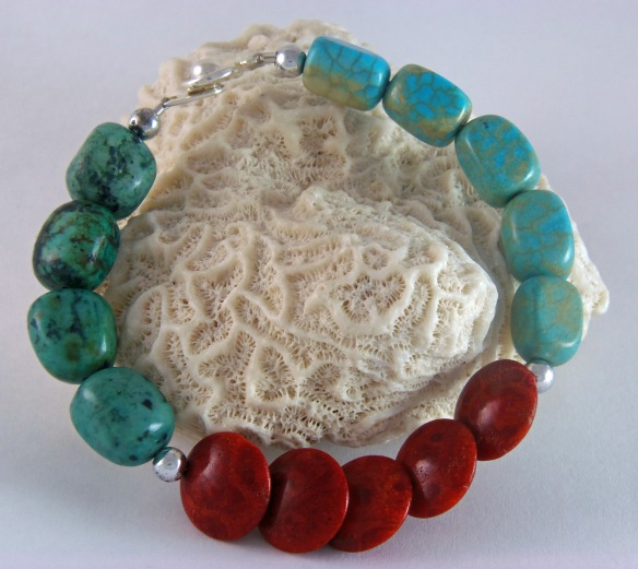 Bohemian Red Sponge Coral and Turquoise Gemstone Bracelet by Junebug Jewelry Designs