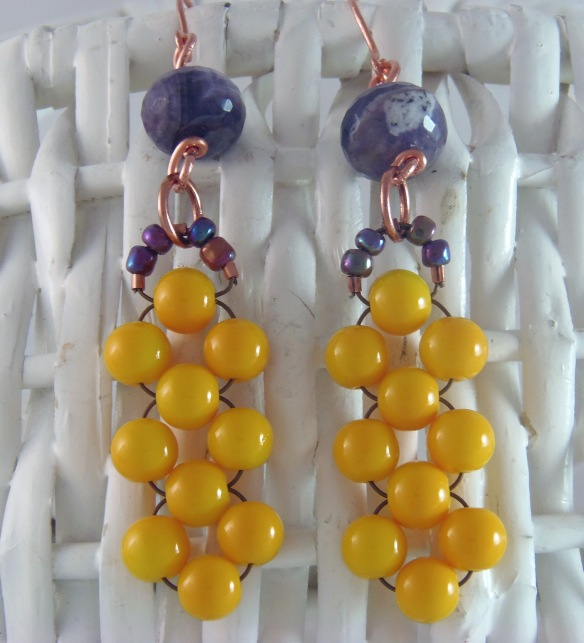 Amethyst and Golden Yellow Chandelier Earrings by Junebug Jewelry Designs on Etsy