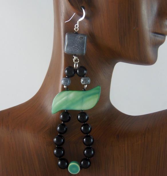 Black and Hemlock Green Long Dangle Teardrop Statement Earrings by Junebug Jewelry Designs on Etsy