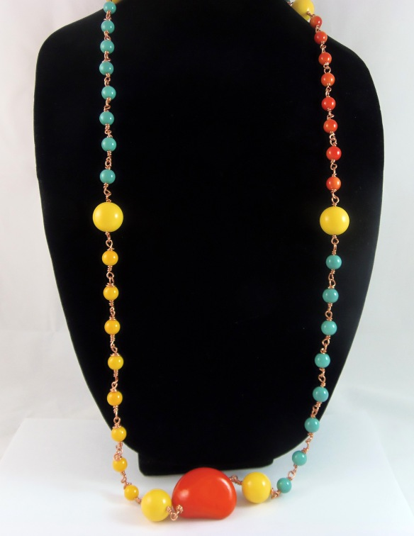 Color Splash Extra Long Statement Necklace by Junebug Jewelry Designs