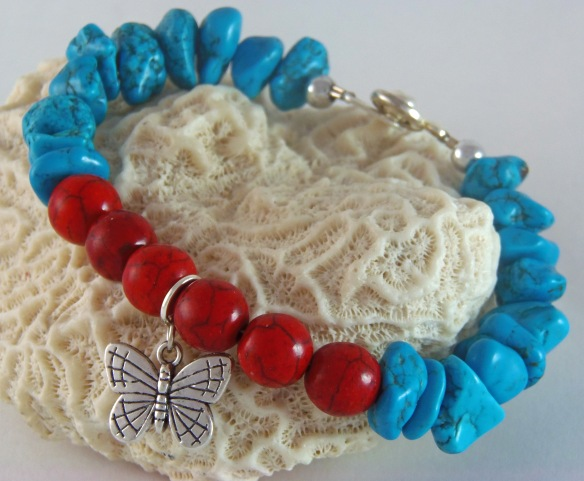 Bohemian Red and Turquoise Butterfly Charm Bracelet by Junebug Jewelry Designs