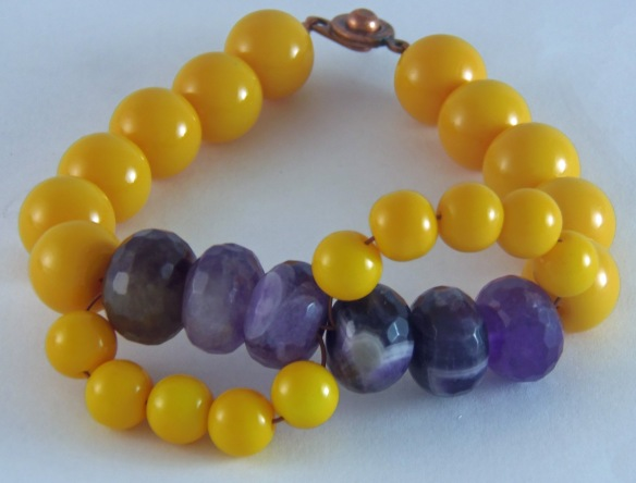 Amethyst and Golden Yellow Beaded Bracelet by Junebug Jewelry Designs on Etsy