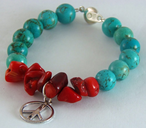 Bohemian Red Coral and Turquoise Peace Charm Bracelet by Junebug Jewelry Designs
