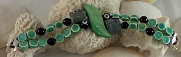 Black and Hemlock Green Multistrand Statement Bracelet by Junebug Jewelry Designs on Etsy