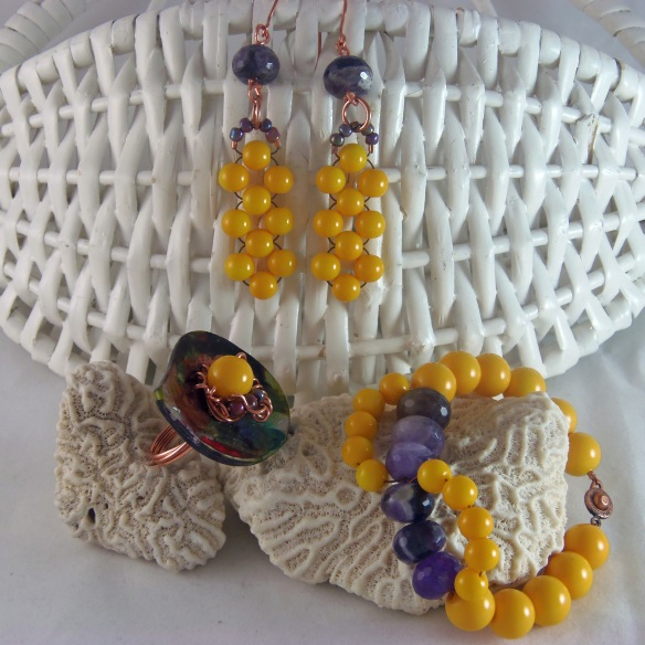 Yellow and Amethyst Jewelry Set by Junebug Jewelry Designs on Etsy