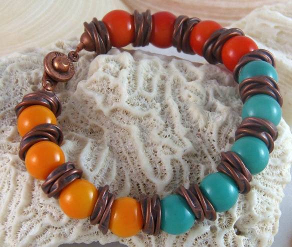 Color Splash Beaded Bracelet with Copper from Junebug Jewelry Designs on Etsy