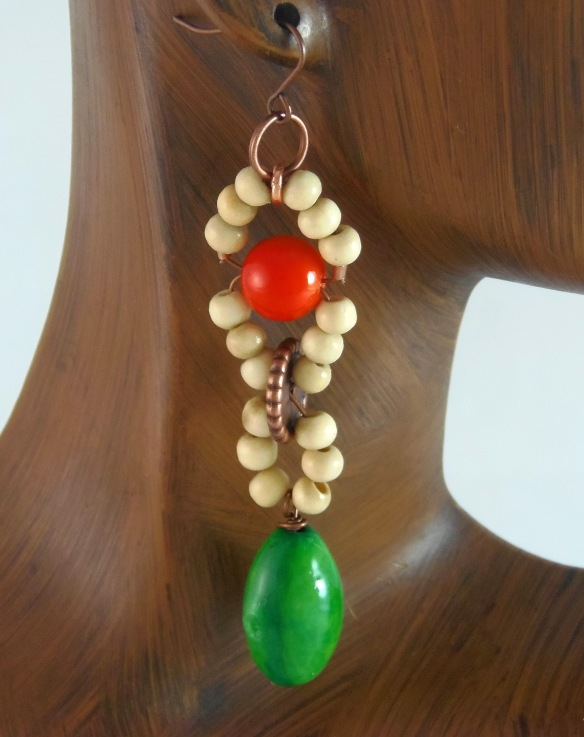 Bohochic Long Beaded Earrings with Fair Trade Tagua Seeds by Junebug Jewelry Designs on Etsy