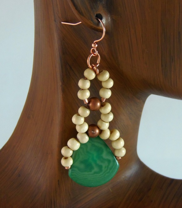 Bohochic Beaded Earrings with Fair Trade Tagua Seeds by Junebug Jewelry Designs on Etsy