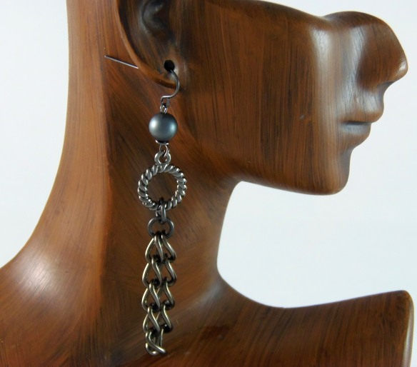 Hematite Chain Earrings by Junebug Jewelry Designs.