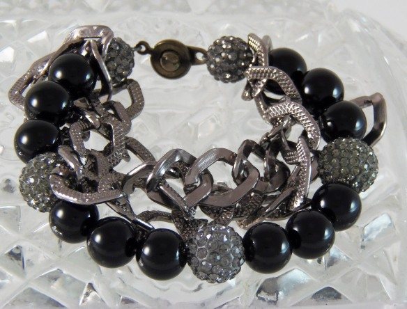 Onyx and Chain Bling Bracelet #1 by Junebug Jewelry Designs