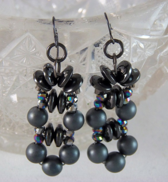 Hematite Chandelier Earrings by Junebug Jewelry Designs