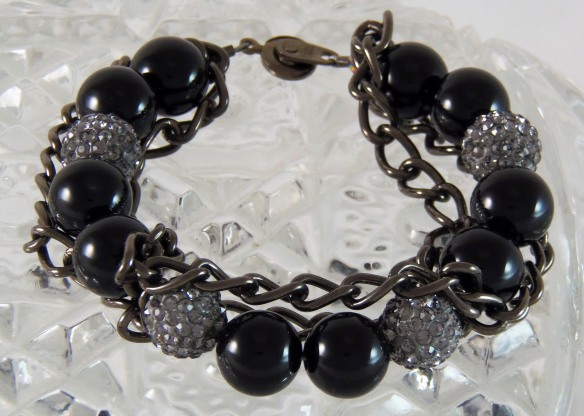 Hematite and Bling Bracelet #2 by Junebug Jewelry Designs