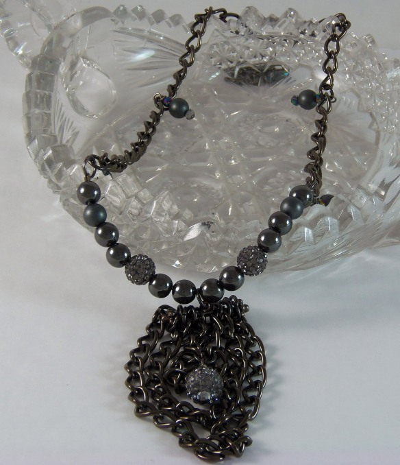 Hematite and Bling Necklace by Junebug Jewelry Designs