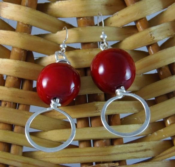 Red Tagua Nut Argentium Silver Earrings by DesignsByJunebug on Etsy.