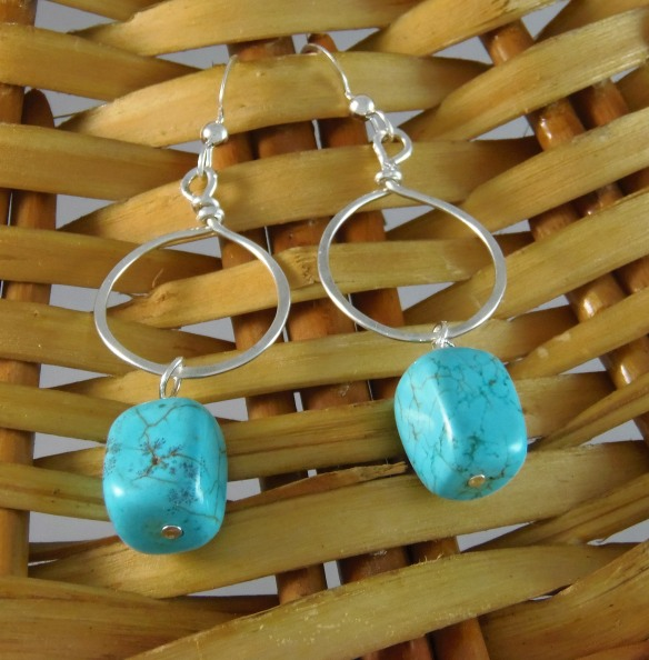 Turquoise and Argentium Silver Hoop Earrings by DesignsByJunebug on Etsy.