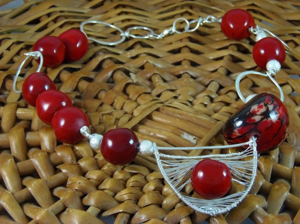 Red Tagua Nut and Argentium Silver Wire Necklace from DesignsByJunebug on Etsy
