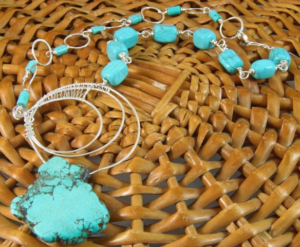 Turquoise and Argentium Silver Wire Wrapped Necklace by DesignsByJunebug on Etsy.